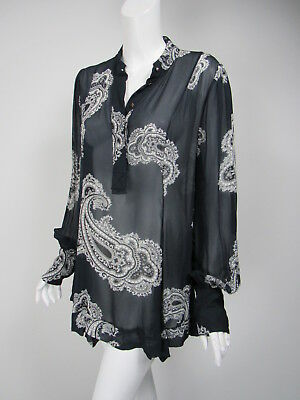 ZIMMERMANN Navy White Paisley Print Chiffon 1/2 Button Tunic Top Sz 2 US M • 47$