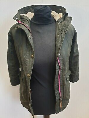 F611 Girls Joules Green Hooded Sherpa Lined Waxed Jacket Uk Age 6 Years • 31.99£