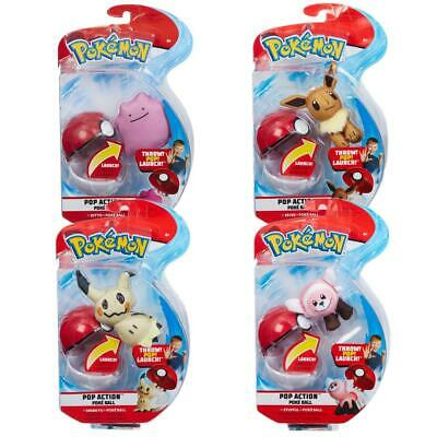 Pokemon Pop Action Poke Ball And Soft Toy Figure Collectables - Collect 'em All! • 12.99£