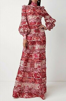 NEW Zimmermann Design Red Floral Spliced Long Sleeve Maxi Dress 0,1,2 • 510$