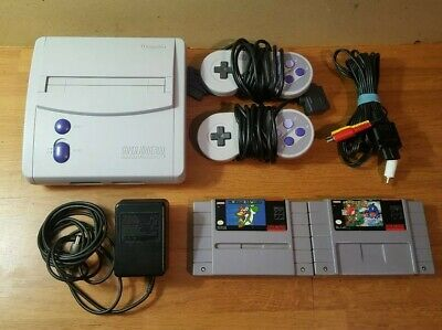 $ CDN124.99 • Buy SNES Super Nintendo Mini Console Lot With Super Mario World 1 + 2 Cart Only