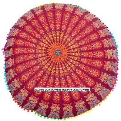 Red Color Peacock Mandala Floor 32  Inch Large Round Cushion Cover Bohemian Art  • 11.34£