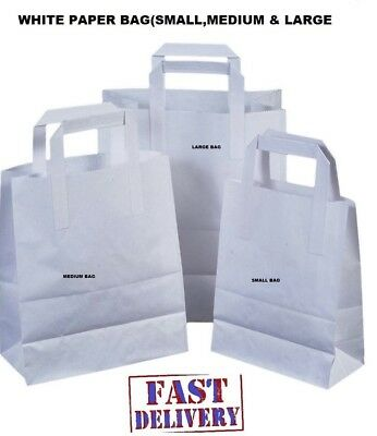 Strong Brown / White Flat Handle Paper Bags   Kraft/Carrier/Gift/Fashion/Party! • 4.90£