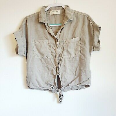 $ CDN30.07 • Buy Anthropologie Cloth And Stone Grey Chambray Tie Front Top Size Small