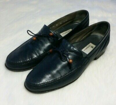 £57.62 • Buy Moreschi Blue Calf Leather Loafers Slip-on Luxury Dress Shoes Sz 9c