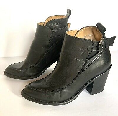 "ZARA Basics Black Leather Cut Out Ankle Boots Moto Straps Buckles 3""heel 36 US 6 • 42.95$"