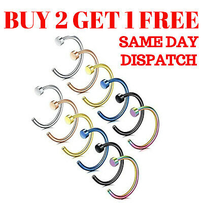Nose Ring Fake Nose Rings Hoop Lip Small Thin Piercing Surgical Steel Open • 1.59£