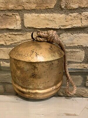 £35.36 • Buy Pottery Barn Vintage Gold Bell Objects Christmas Decor Small Size New