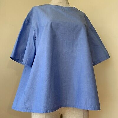 AU19 • Buy Stylish Uniqlo Light Blue Trapeze Style Short Sleeved Blouse Top Cotton Sz XL