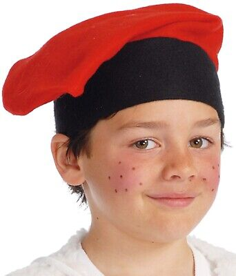 Girls Boys Red Black French Beret Artist Painter Fancy Dress Costume Accessory • 4.99£