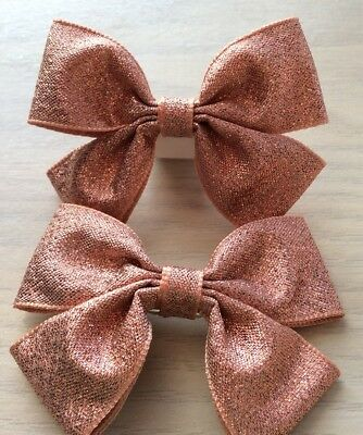 £3.50 • Buy 2 Girls Lovely Rose Gold Sparkly Handmade Ribbon Hair Bows / Clasps / Clips