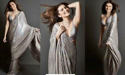 Bollywood Indian Party Wear Georgette Sequence Saree Wedding Pakistani Sari KP • 23.99£