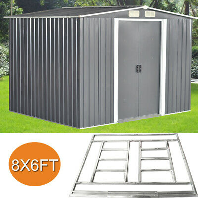 New Quality 8x6 FT Garden Shed Metal Apex Roof Outdoor Storage With Free Base • 299.99£