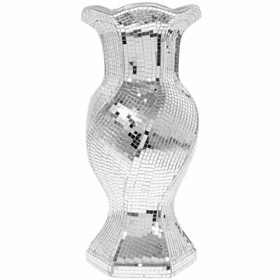 Stylish Silver Mosaic Mirror Tile Covered Round Bling Decorated 37cm Floor Vase • 25.99£