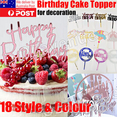 AU6.89 • Buy Happy Birthday Cake Topper Acrylic Party Decorations Mirror Gold Rose Gold Pink