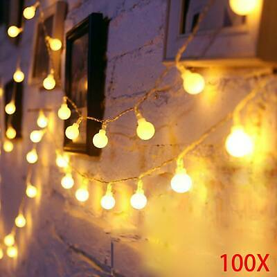 100 LED Globe Ball Outside Garden  String Fairy Warm White String Lights 33ft • 7.89£