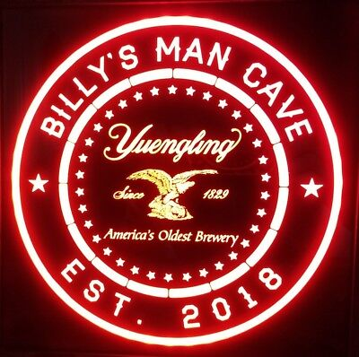 $60 • Buy Custom Yuengling Beer LED Sign Personalized, Home Bar Pub Sign, Lighted Sign