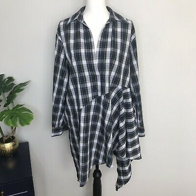 $21.99 • Buy Zara Woman Asymmetrical Tunic Plaid Long Sleeve Dress Size XL