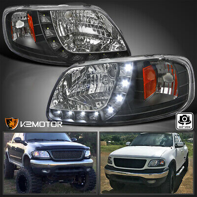 $103.38 • Buy For 1997-2003 Ford F150 1PC Style Black LED Strip Lamps Headlights Left+Right
