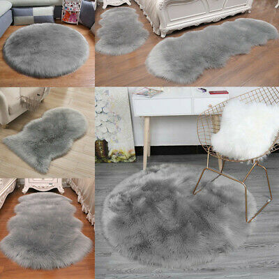 AU32.99 • Buy Natural Sheepskin Rug Very Fluffy Soft Wool Shaggy Area Rugs Faux Fur Mats RR