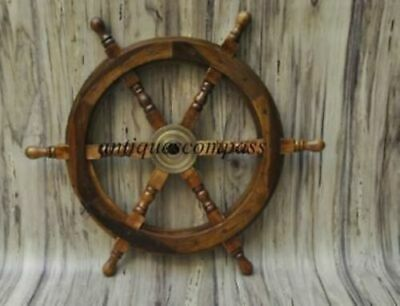 18 Nautical Wooden Ship Steering Wheel Pirate Decor Wood Brass Wall Boat DECOR • 42.89£