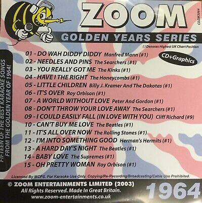 £6.99 • Buy Zoom Golden Years CDG Disc- Karaoke Hits From The Year 1964