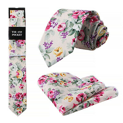 New Green & Pink Floral Skinny Cotton Tie & Pocket Square Set. Great Reviews. UK • 8£