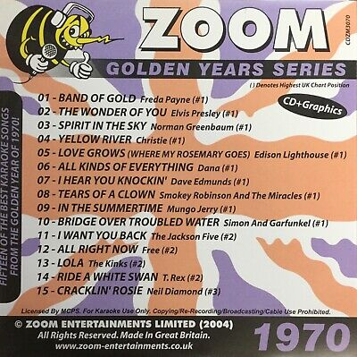 £6.99 • Buy Zoom Golden Years CDG Disc- Karaoke Hits From The Year 1970