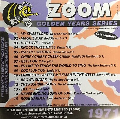 £6.99 • Buy Zoom Golden Years CDG Disc- Karaoke Hits From The Year 1971
