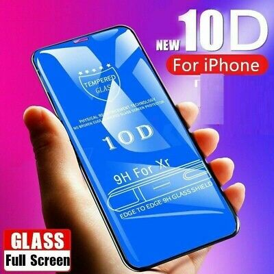 For IPhone X XS 7+ 8+ 10D Full Glue Cover Curved Tempered Glass Screen Protector • 3.89£