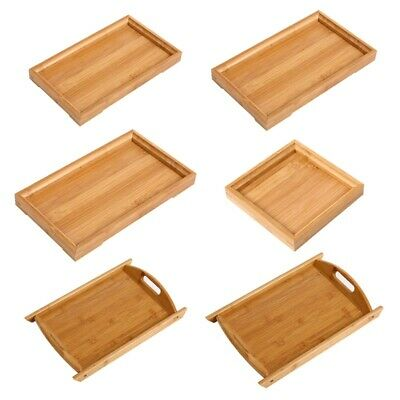 $9.08 • Buy Newest Wood Serving Tray Tea Food Table Bamboo Tray Coffee Plate Breakfast-Snack