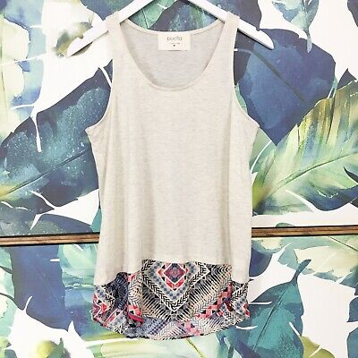 $ CDN13.23 • Buy Anthropologie Tank Top Size Medium M Layered Hem Diamond Printed Boho Puella