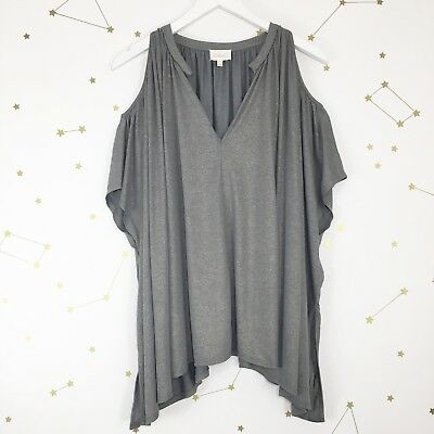 $ CDN19.54 • Buy Anthropologie Tulay Tunic Top XS Small Deletta Gray Gold Shimmer Cold Shoulder