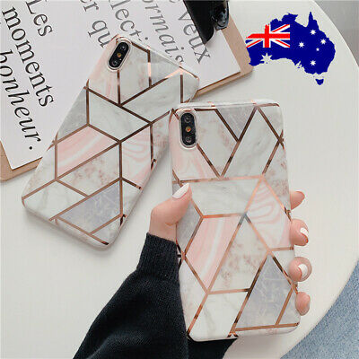 AU8.89 • Buy Geometric Marble Plating Case For Apple IPhone XR XS MAX X 8 7 Plus Soft Cover