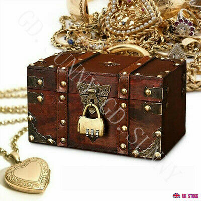 Retro Treasure Chest With Lock Vintage Wooden Storage Box Gift Jewelry Organizer • 12.99£