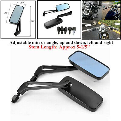 $19.49 • Buy 1 Pair Universal Rectangle Black Motorcycle Rearview Side Mirrors Trims 8mm 10mm
