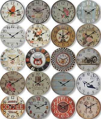 AU28.99 • Buy New 34cm Round Wall Clock Rustic French Provincial Country Assorted Designs
