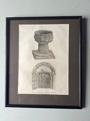 £6.99 • Buy Framed 18th Century Engraving Of The Font And West Door Of Harrow Church