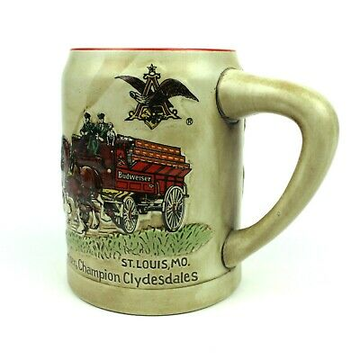 $ CDN130.57 • Buy 1980 Vtg Budweiser Holiday Stein Beer 1st Series Ceremarte Champion Clydesdales