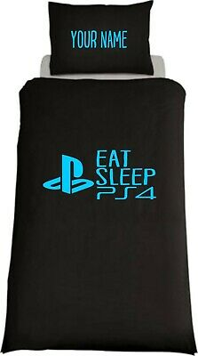 Personalised EAT SLEEP PS4 Inspired Single Bed Duvet Cover Gaming Playstation • 22.99£