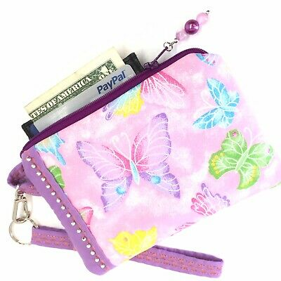 $5.39 • Buy Colorful-Butterfly-Handmade-Money-Coin-ID-Credit Card-Wristlet-Purse-Pouch