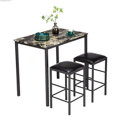 $74.99 • Buy 3 Piece Counter Height Dining Set Faux Marble Table And 2 Chairs Kitchen Bar New