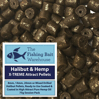Halibut & Hemp X-TREME Attract Pellets 75g - Pre Drilled 8mm, 14mm, 20mm, Mixed • 1.99£