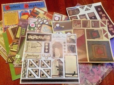 $10.99 • Buy Large Lot Of Scrapbook Diecuts Paper 12x12 Vacation Fall Floral Letters Nature