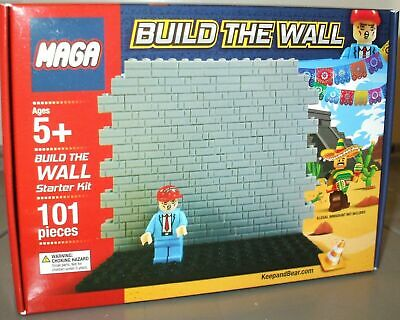 MAGA Build The Wall (LEGO) Starter Kit 101 Piece Set W/ Donald Trump Mini-Figure • 40.24£