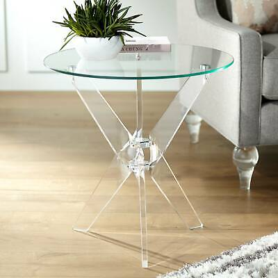 $239.99 • Buy Cindy 22  Wide Acrylic And Glass Round Accent Table