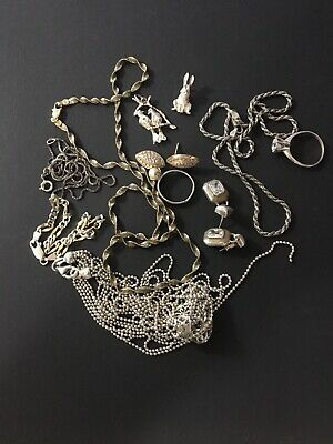 $ CDN63.10 • Buy Vintage Lot Sterling Silver Rings Necklaces Pins Etc Some Wearable 61 Grams