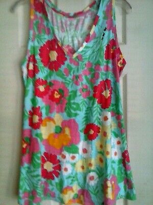 $19.99 • Buy Lilly Pulitzer Womens Gale Tank Ants On Parade V-neck Floral Sleeveless~Large