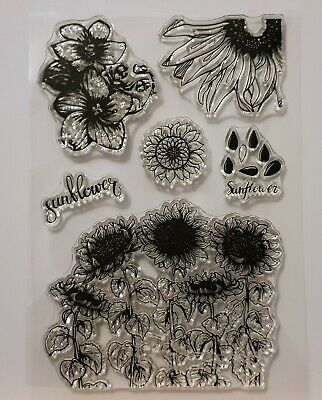 Sunflower Clear Stamp Set - 6 Different Stamps - BNIP - FREE P & P • 3.99£