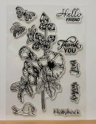 Hollyhock Clear Stamp Set & Sentiments - 9 Different Stamps - BNIP - FREE P & P • 1.99£